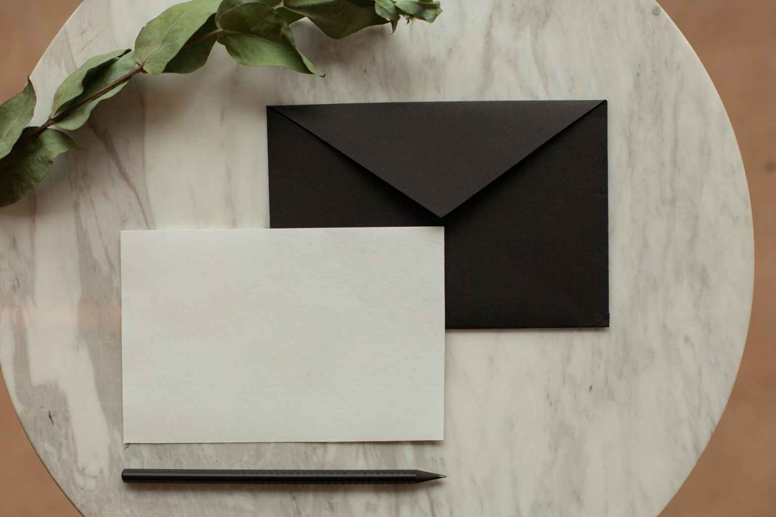 creative mock up envelope near dry twig
