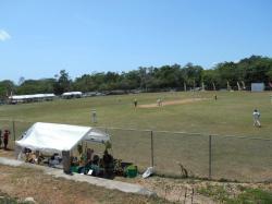 Cricket match on the ball field