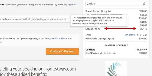 save money, booking fee, guest service fees, HomeAway,