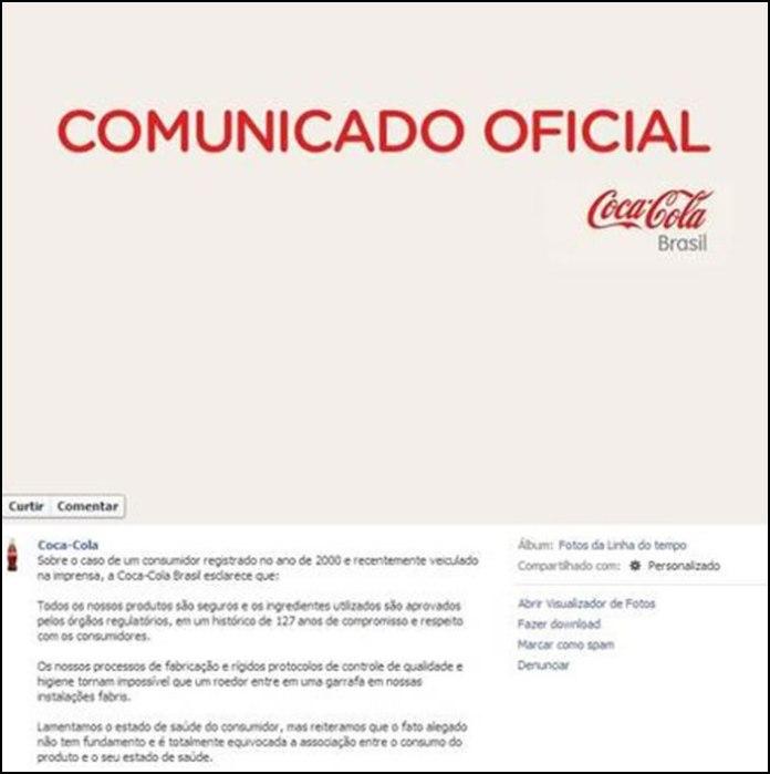 O caso da cabeça de rato em garrafa da coca-cola