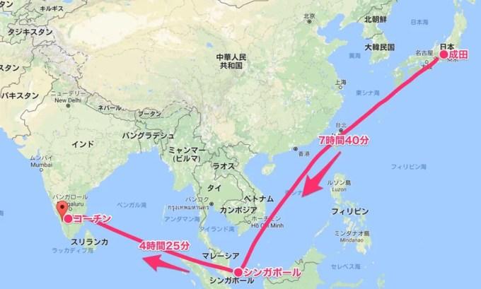 成田〜コーチン(南インド・ケララ州1マップ)