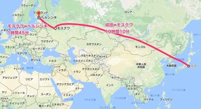 成田〜ヘルシンキMAP(バルト三国①)