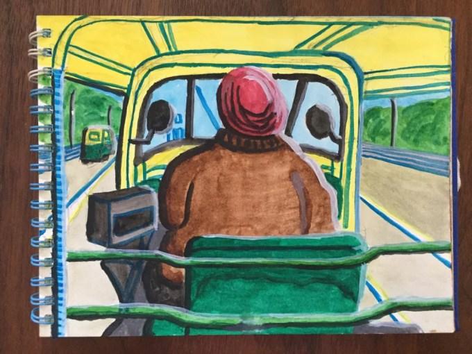 インド・デリー「インドのリキシャ(車内)」【絵】