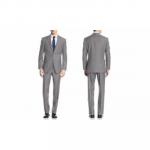 Men's Uomo Men's Classic Fit 2PC Suits Grey 38Lx32W Classic