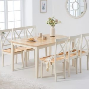 Chiltern 150cm Oak and Cream Dining Table with Epsom Chairs