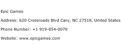 Epic Games Address, Contact Number of Epic Games