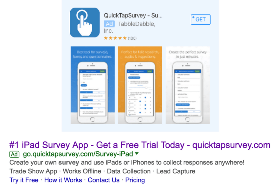 Quick Tap Survey Ads - By Search & Gather