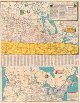 Road Map Of Saskatchewan And Manitoba Highway Map Of Southern Canada And The Northern United States And Information On National Parks In Western Canada City Of Vancouver Archives