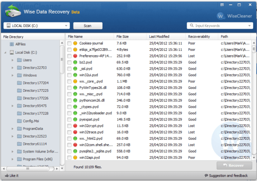 Wise Data Recovery Freeware to recover deleted files