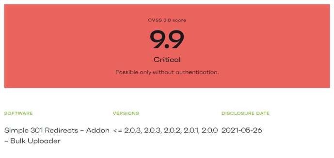 Simple 301 redirects Plugin vulnerability patchstack