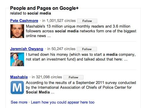 Google+ non-social search results