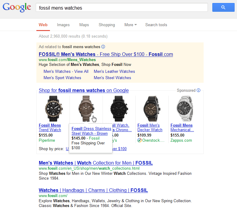 PLAs Fossil Mens Watches SERP Example
