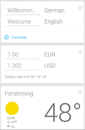 Google Now, showing translation and currency info
