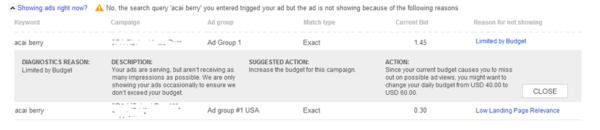 Bing Ads Advanced Diagnostics Reasons Example