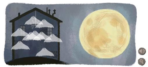 Google Logo Moon and Ghosts