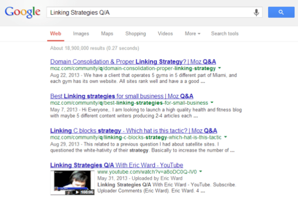 Linking Strategies Q A   Google Search