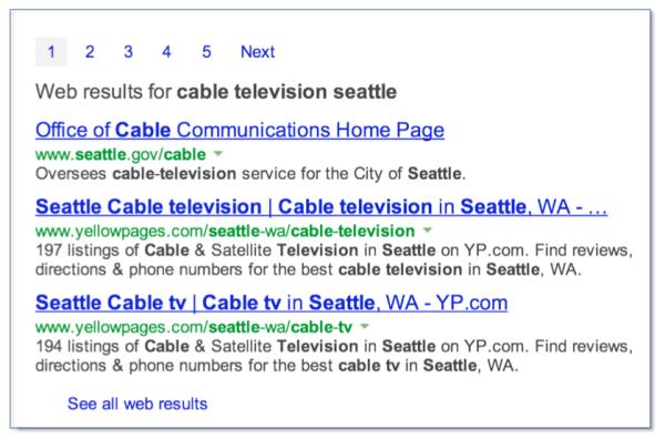 Bing Entity Web Listings