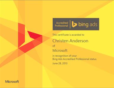 bing ads professional certificate