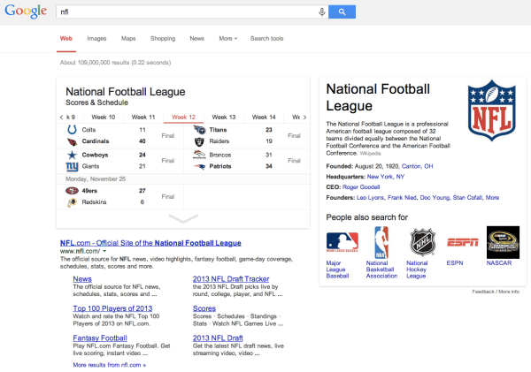 Google SERp for 'NFL'