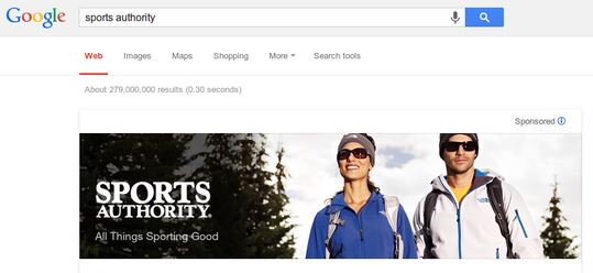 sports authority google brand banner ad