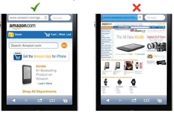 Amazon mobile optimized website vs non-optimized: Less is more