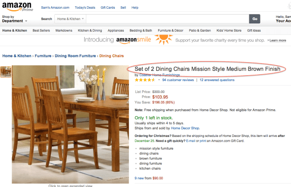 An Amazon product page for furniture