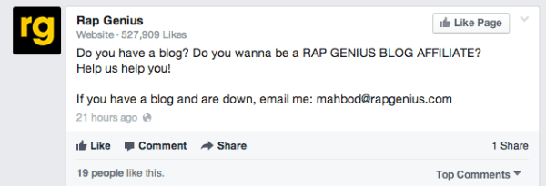 rapgenius-affiliate-facebook-post