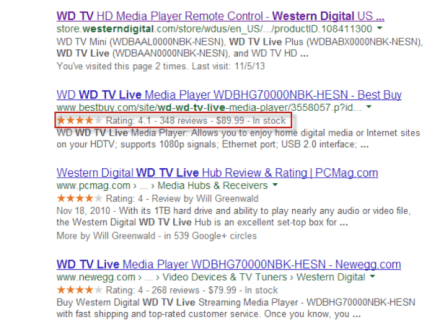 search results with markup