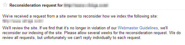 Reconsideration request auto response