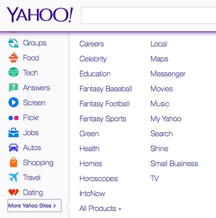 Yahoo verticals