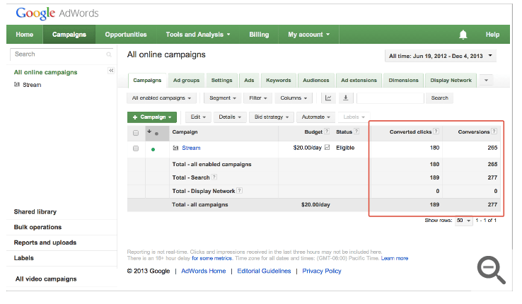 AdWords new conversion columns february 2014