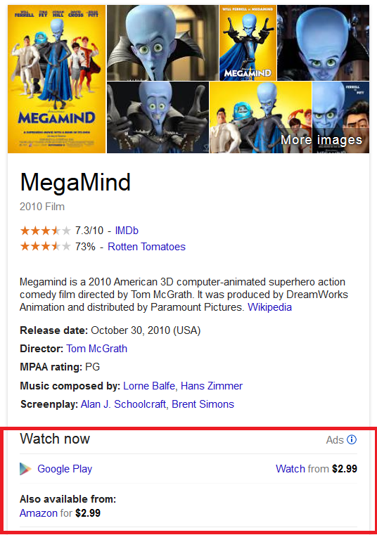 Ads Google Knowledge Graph Movie Streaming
