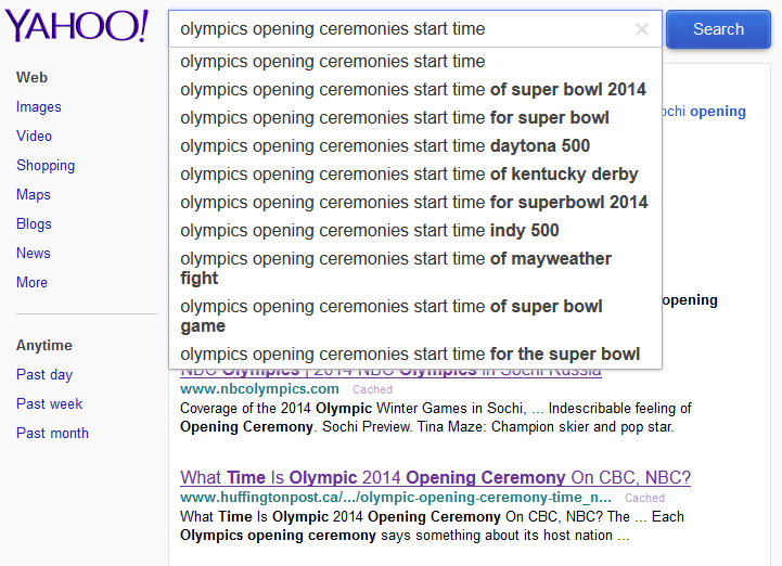 Yahoo Olympics Auto Suggest For Olympics  opening ceremonies