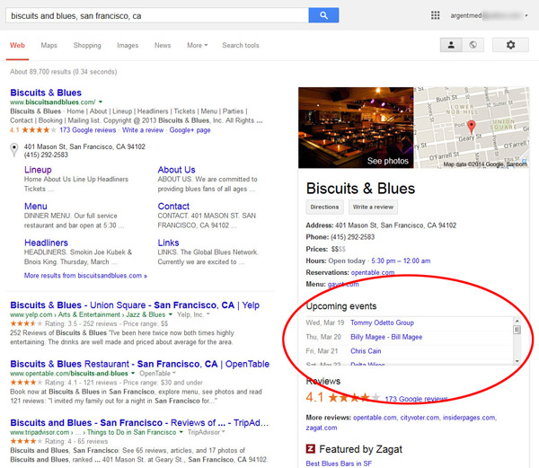 Biscuits & Blues Events in Knowledge Graph Box
