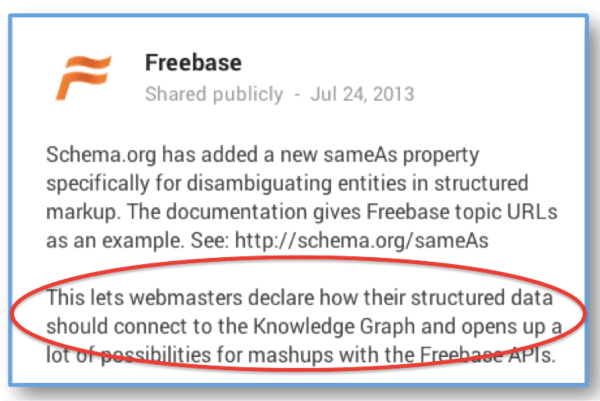 "Announcement of ""Sameas"" in Schema.org"