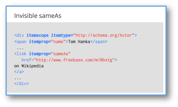 "Schema.org disambiguated  (using ""SameAs"") to a freebase mid for the item"