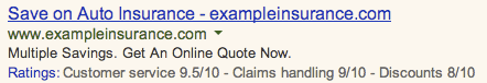 Google AdWords Customer Ratings Annotations
