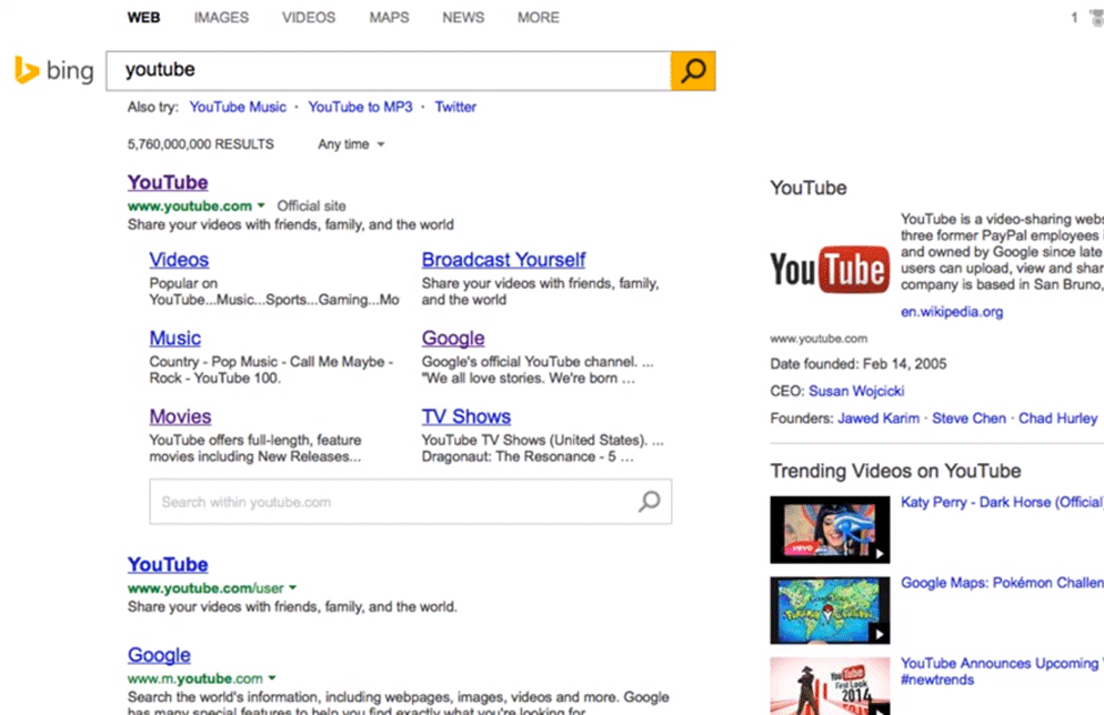 Bing Testing New Search Results Design