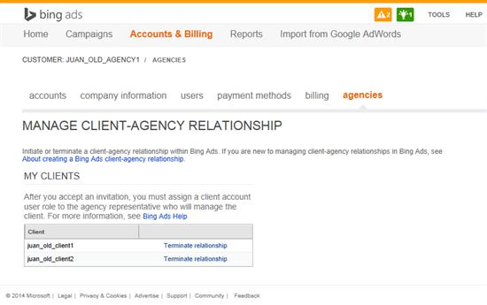 Bing Ads Agencies Tab