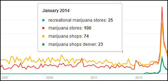 Searches for marijuana stores spiked up in January 2014, according to Google Trends.