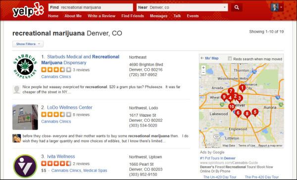 Recreational Marijuana businesses in Yelp