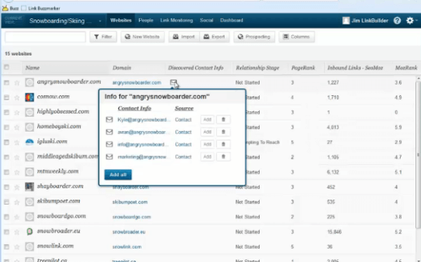 Link Building Database Screen Shot
