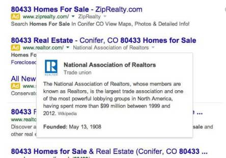 Google Ads Info Box from Knowledge Graph