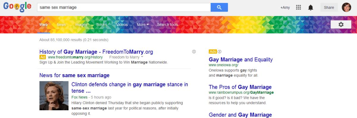 Google gay pride banner June 2014
