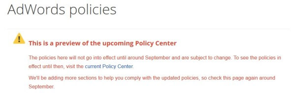 AdWords Policy Center update
