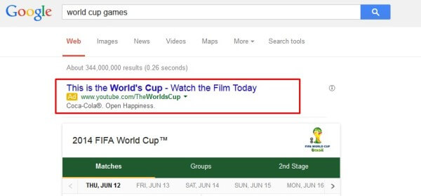 World Cup sponsors Coca-Cola adwords