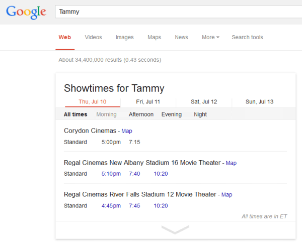Showtimes for tammy Google