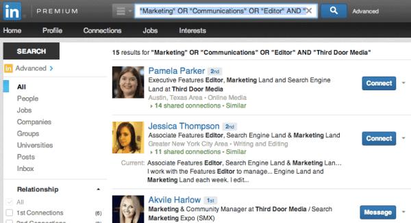 LinkedIn Search Screenshot