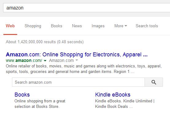 Google new search box Amazon