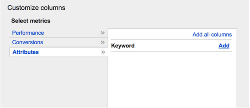 Adding the keyword column on search terms report.